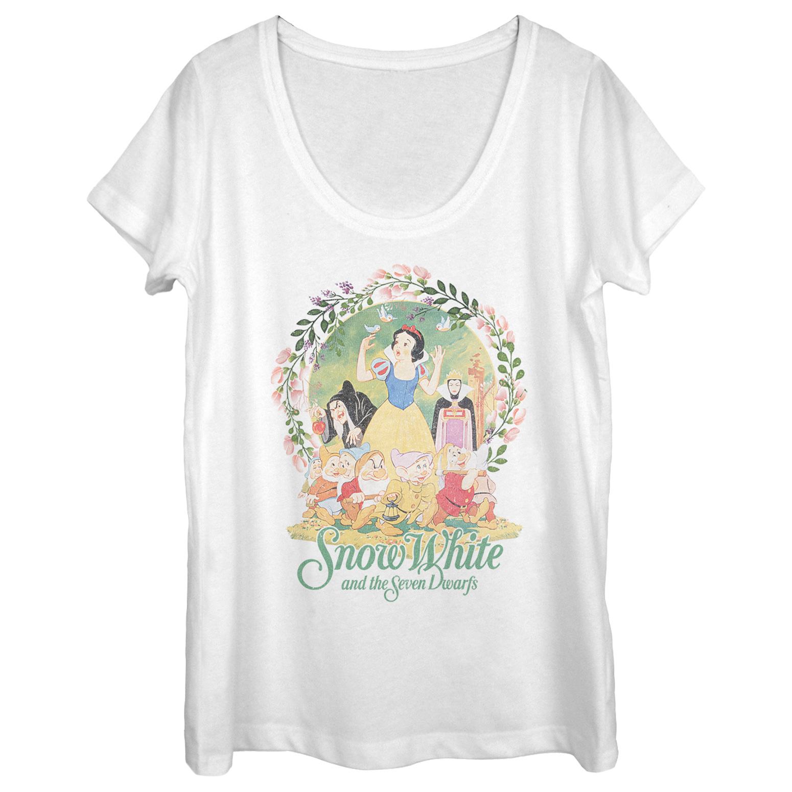 Snow White and the Seven Dwarves Women's Wreath Scoop Neck T-Shirt