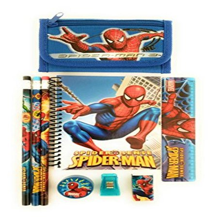 Blue   Marvel Spider Man Wallet Free Stationary Set School Boy Gift