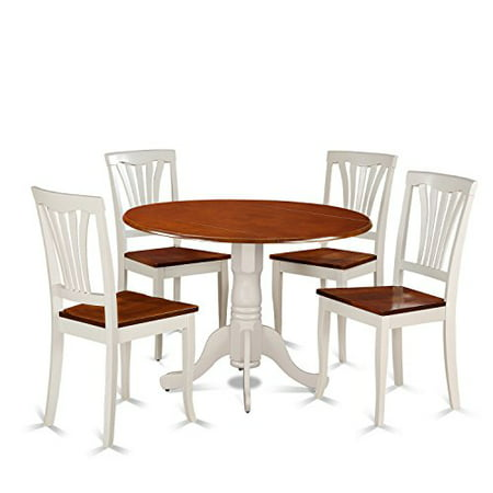 Dlav5 Bmk W 5 Piece Dining Set Round Table And 4 Kitchen Chairs