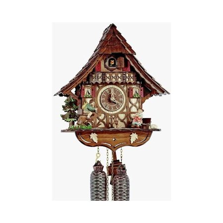 8-Day Curved Roof Chalet Cuckoo (Carved Chalet Clock)