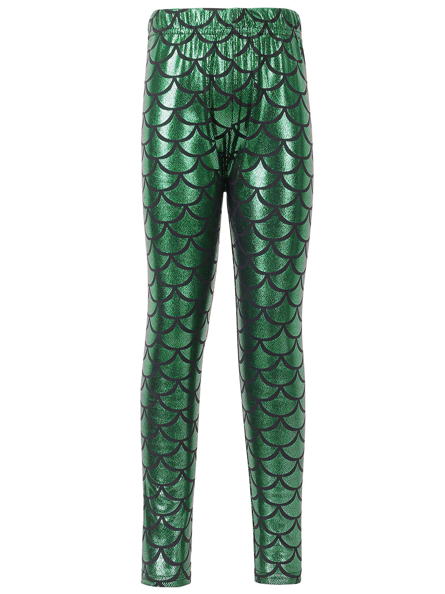 Kids Girls Night Club Full Length Mermaid Fish Scale Print Leggings Green S