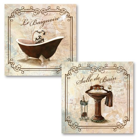 Gango Home Decor Elegant French Salle De Bain & Le Baignoire Clawfoot Tub and Sink Bathroom Wall Art by Gregory Gorham; Two Off-White 12x12in Unframed Paper Prints (Paper Only, No Frame) ()