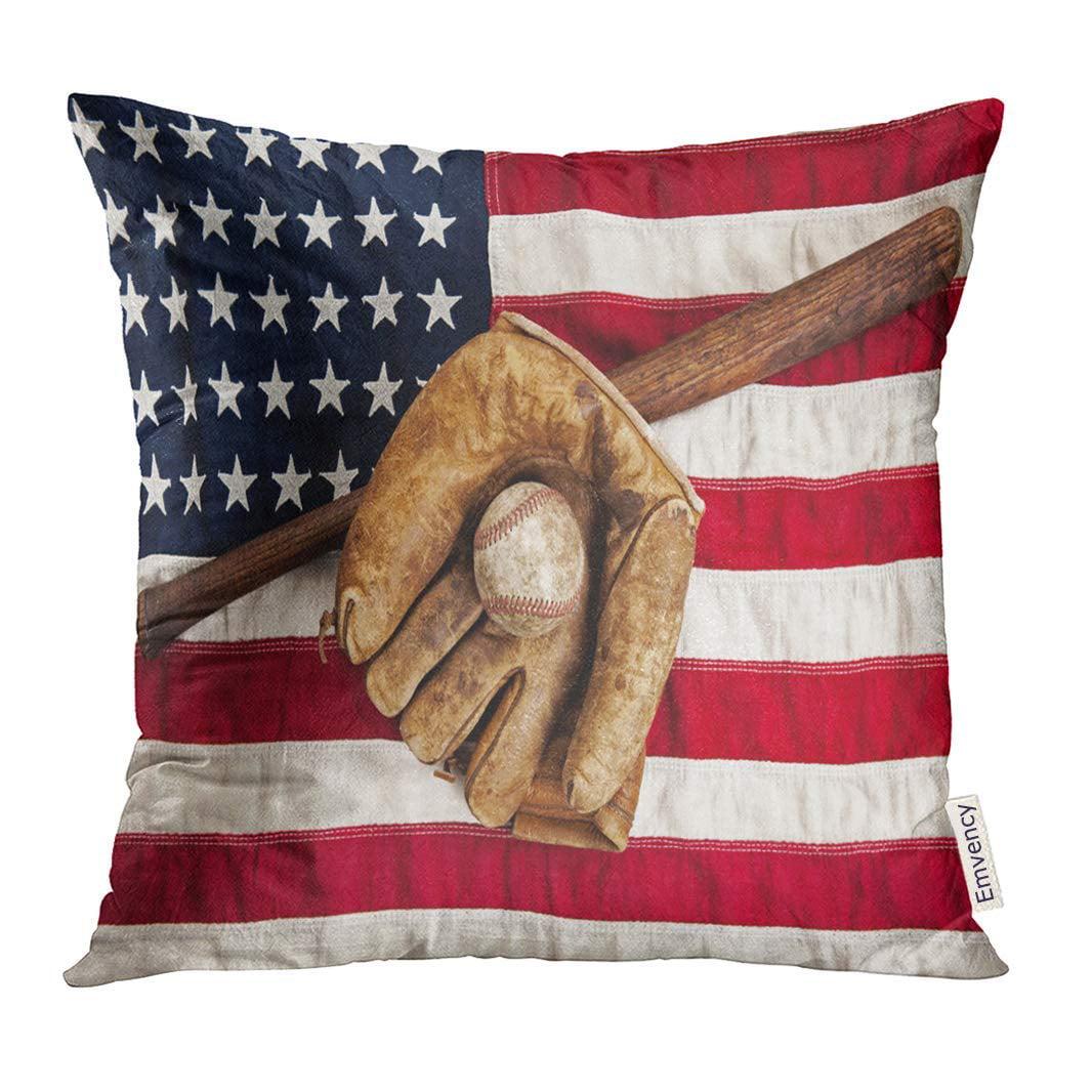 Arhome Red Old Vintage Baseball Bat Glove And Ball On American Flag Blue Americana Pillow Case 20x20 Inches Pillowcase Walmart Com Walmart Com