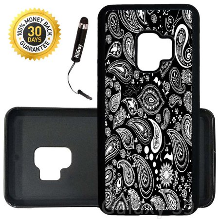 Custom Galaxy S9 Case (Black Bandana) Edge-to-Edge Rubber Black Cover Ultra Slim | Lightweight | Includes Stylus Pen by Innosub (Custom Bandana)
