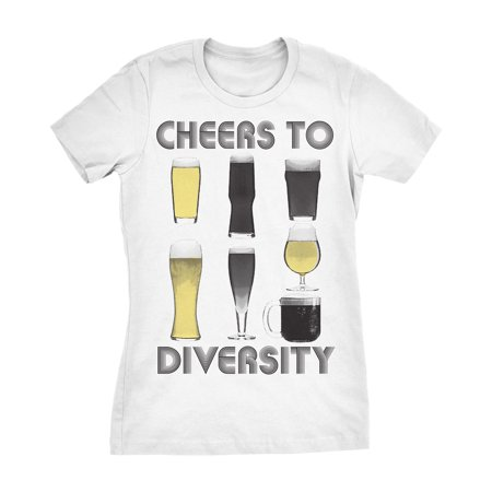 6bbd48aef Crazy Dog T-Shirts - Crazy Dog TShirts - Womens Cheers to Diversity Funny T  shirts Drinking Shirts Hilarious Novelty Graphic T shirt - Walmart.com