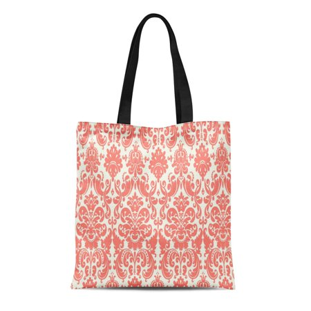 SIDONKU Canvas Tote Bag Vintage Coral Pink and Elegant Damask Pattern Classic Chic Reusable Handbag Shoulder Grocery Shopping Bags (Pink Classic Tote)