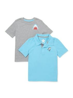 365 Kids from Garanimals Boys 4-10 Mix & Match Shark T-Shirt 2-Piece Multipack
