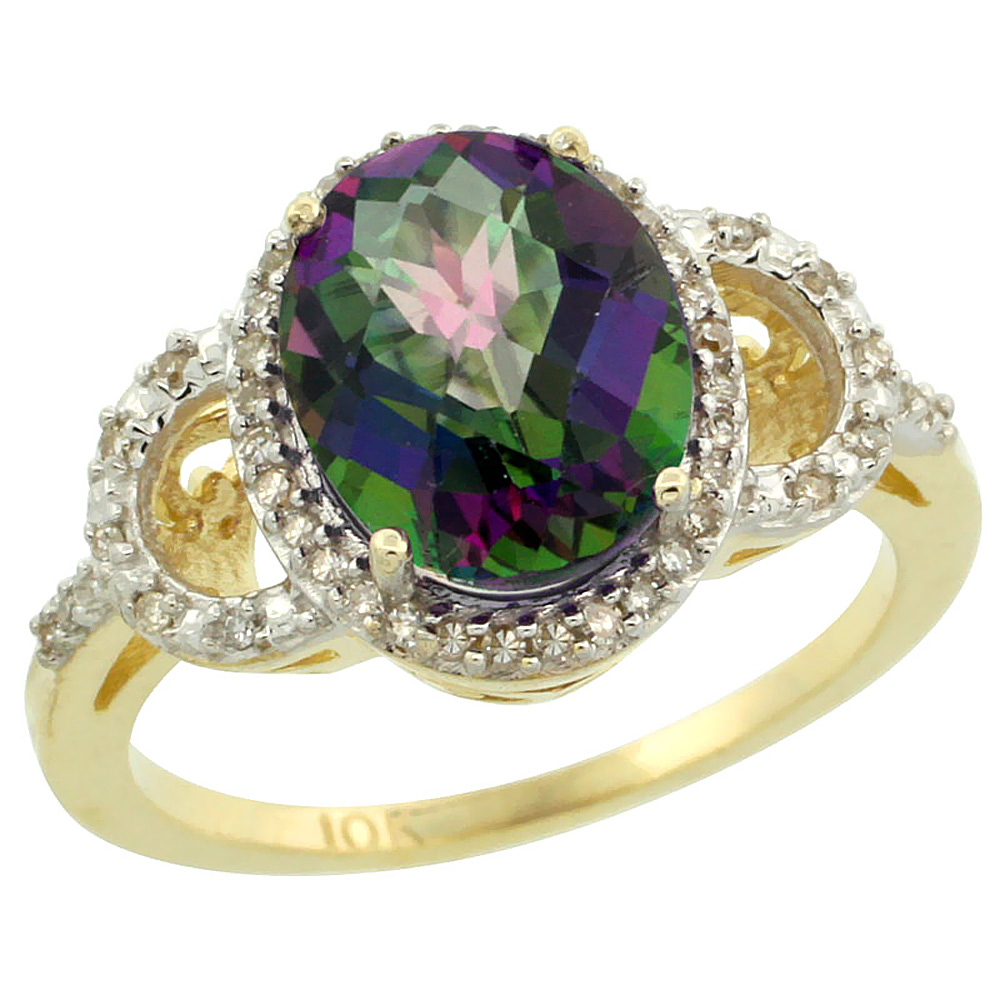 10K Yellow Gold Natural Diamond Halo Mystic Topaz Ring Oval 10X8 mm, sizes 5-10 by WorldJewels