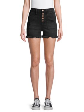 No Boundaries Juniors' Exposed Button Chop Pocket Short