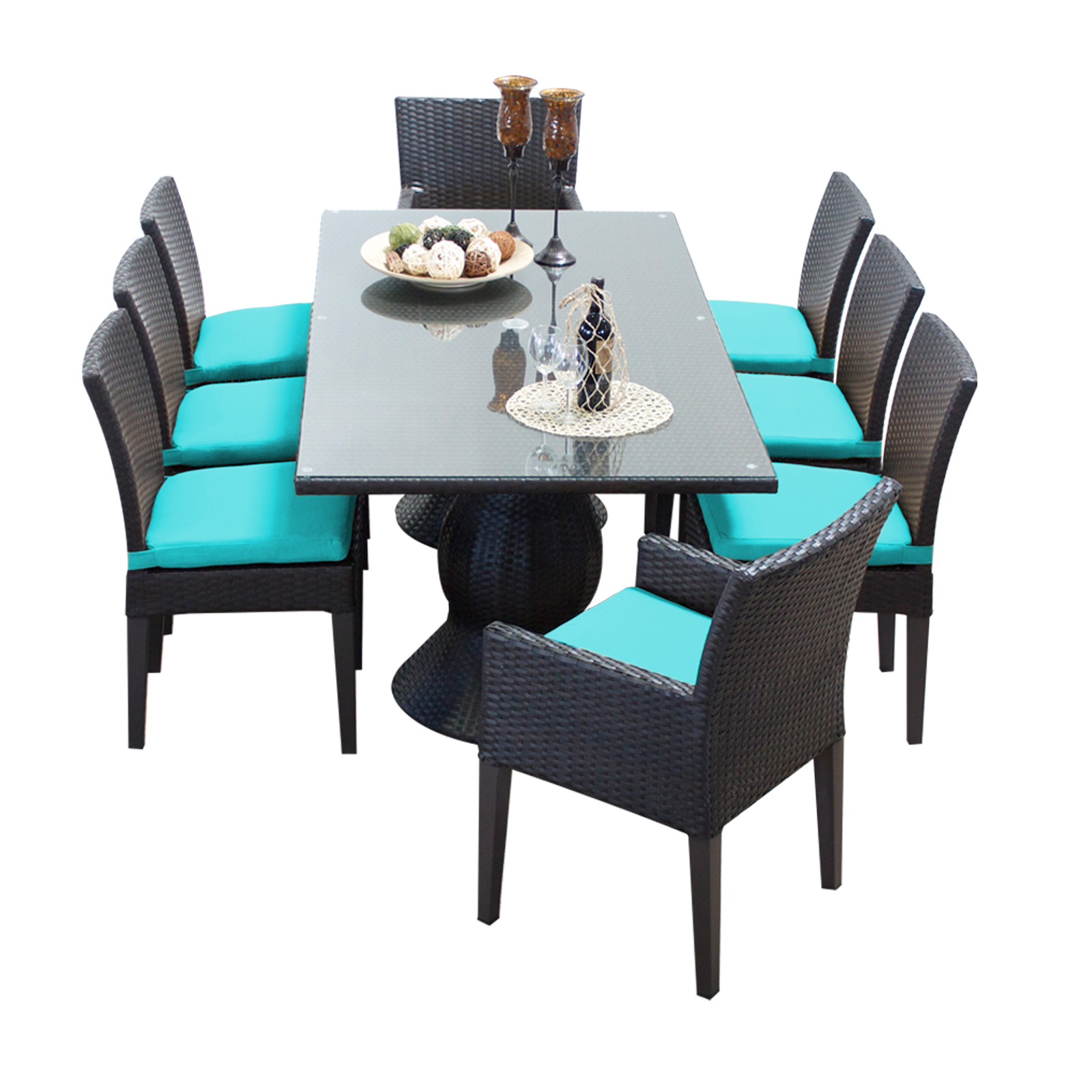 Saturn Rectangular Outdoor Patio Dining Table With 8 Chairs