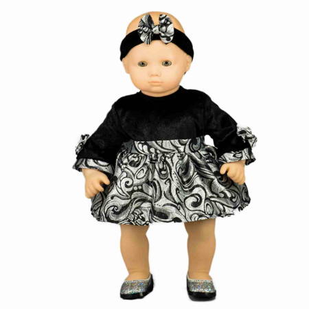 The Queen's Treasures 15 Inch Baby Doll Clothes, Party Dress & Headband Outfit, Compatible with American Girl's Bitty Baby & Twins Bitty Baby Dress