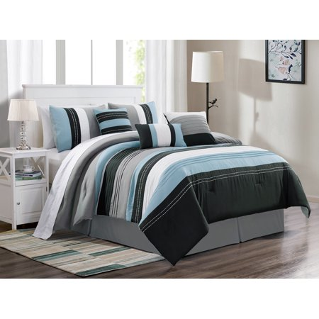 7-Pc Jordan Embroidery Pleated Stripe Lines Comforter Set Blue White Black Gray - Blue And Grey Jordans