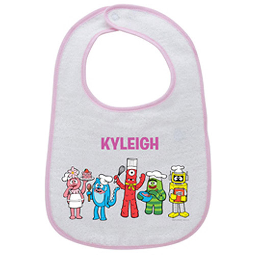 Personalized Yo Gabba Gabba! Cooking Time Pink Bib