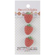 Sweet Delights Buttons-Strawberries Multi-Colored
