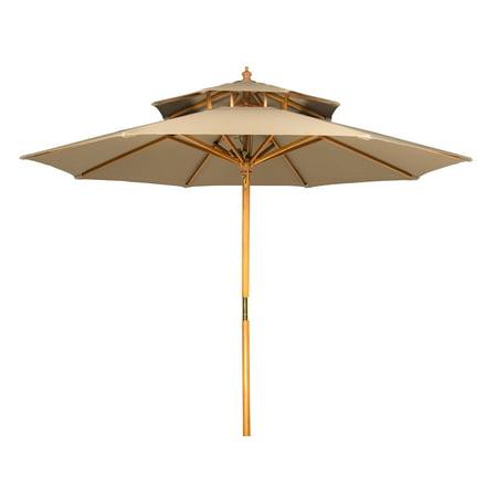 9 Wood 2 Tier Pagoda Style Patio Umbrella By Trademark
