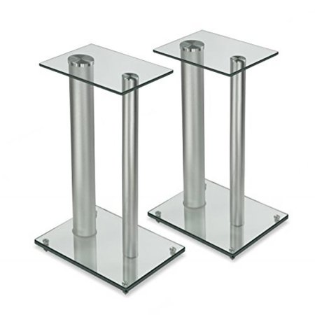 Mount-It! Two Premium Aluminum Glass Speaker Stands for Home Theaters and Entertainment Centers, Surround Sound, 22 lb Capacity  (MI-28S)