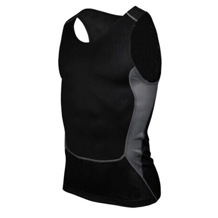 Men Gym Running Sports Compression Shirt Base Layer Tank Tops Sleeveless Vest (Nike Racing Mens Running Tank Top)