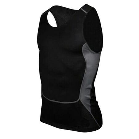 Men Gym Running Sports Compression Shirt Base Layer Tank Tops Sleeveless Vest ()