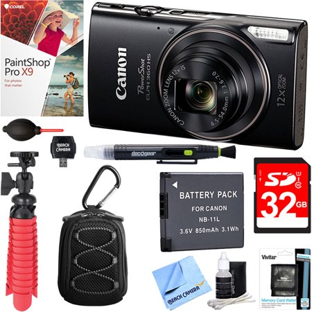 Canon PowerShot ELPH 360 HS Digital Camera (Black) + 32GB Deluxe Accessory