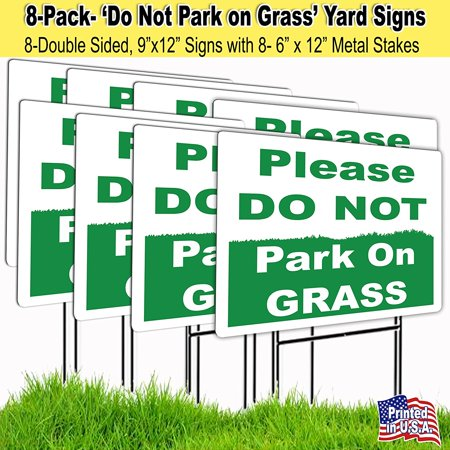 8-9x12 Please Do Not Park on the Grass Lawn Signs with H-stakes (8) - Halloween Lawn Signs