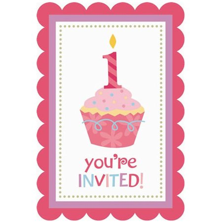 First Birthday Cupcake Invitations (1st Birthday 'Sweet Lil' Cupcake Girl' Invitations w/ Envelopes)