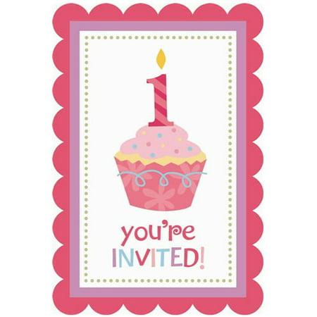 1st Birthday 'Sweet Lil' Cupcake Girl' Invitations w/ Envelopes (20ct) - First Birthday Invitations Girl