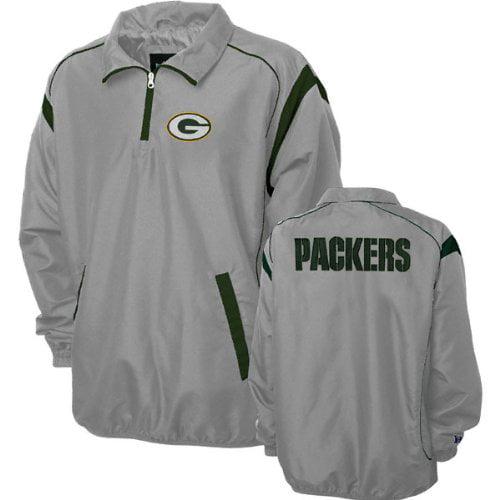 Green Bay Packers Grey Red Zone Quarter Zip Jacket