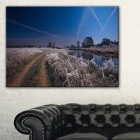 Design Art Frosty Fall Night in Moonlight Photographic Print on Wrapped Canvas
