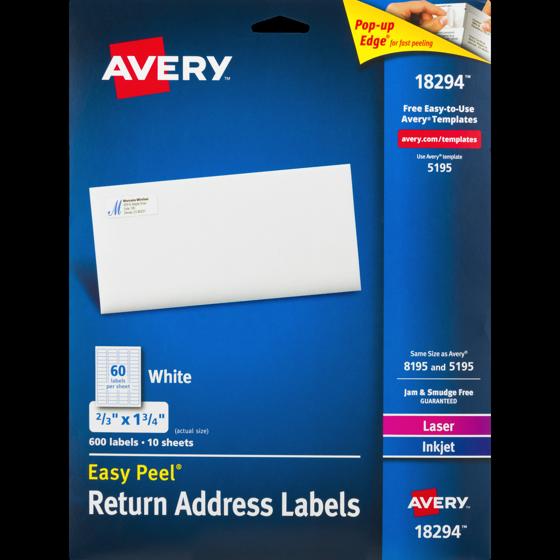 Avery 18294 Easy Peel Return Address Labels 600 Pk 6000 Pack