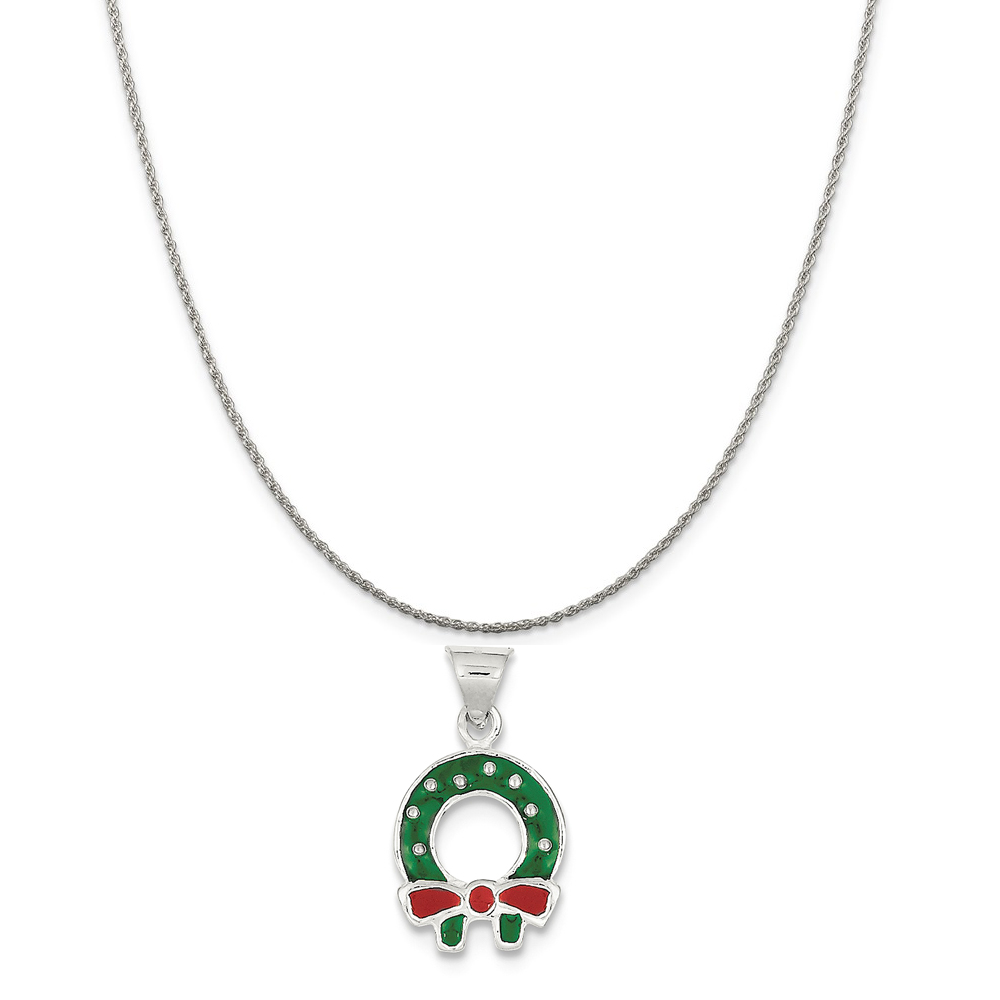 """Sterling Silver Enameled Christmas Wreath Charm on a Sterling Silver Rope Chain Necklace, 16"""""""