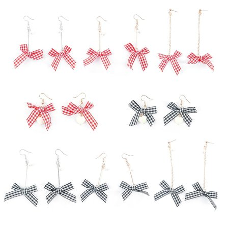 Korean Version Of The Simple Bow Cold Style Earrings Ladies Creative Personality Wild Plaid Hong Kong Style Net Red Earrings - image 7 of 7