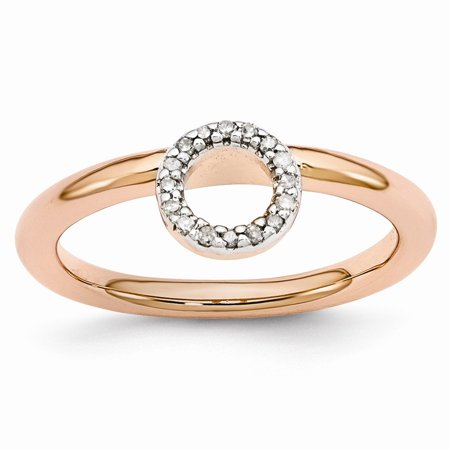 Rose Gold Tone Sterling Silver .09 Ctw Diamond 4.4mm Halo Stack Ring
