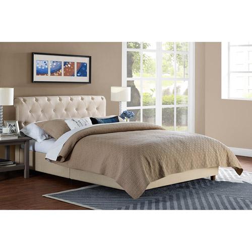 dhp carmela linen upholstered bed tan