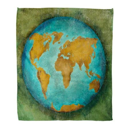 KDAGR Flannel Throw Blanket Vintage Globe Earth World Map Painting Retro 50x60 Inch Lightweight Cozy Plush Fluffy Warm Fuzzy Soft (Retro Throw Blanket)
