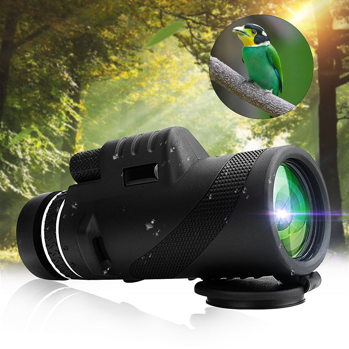 40X60 HD Portable Monocular Telescope Day Night Vision Dual Focus Optical Zoom Waterproof For Hiking Camping Hunting Sightseeing