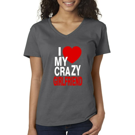 Trendy USA 1342 - Women's V-Neck T-Shirt I Love My Crazy Girlfriend Big Heart Medium Charcoal
