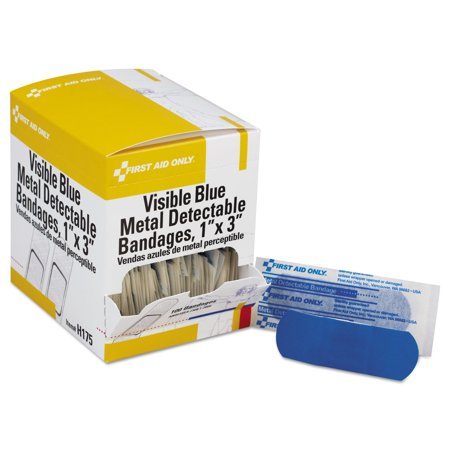 First Aid Only Plastic Bandages - Adhesive Blue Metal Detectable Bandages, 1 x 3, Plastic w/Foil, 100/Bx, 12 Bx/Ct