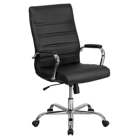 Flash Furniture High Back Black Leather Executive Swivel Office Chair with Chrome Arms