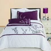 Spring Valley Embroidered Cotton 3-Piece Include One Duvet Cover And Two Pillow Shams Set- Full Queen King Sizes