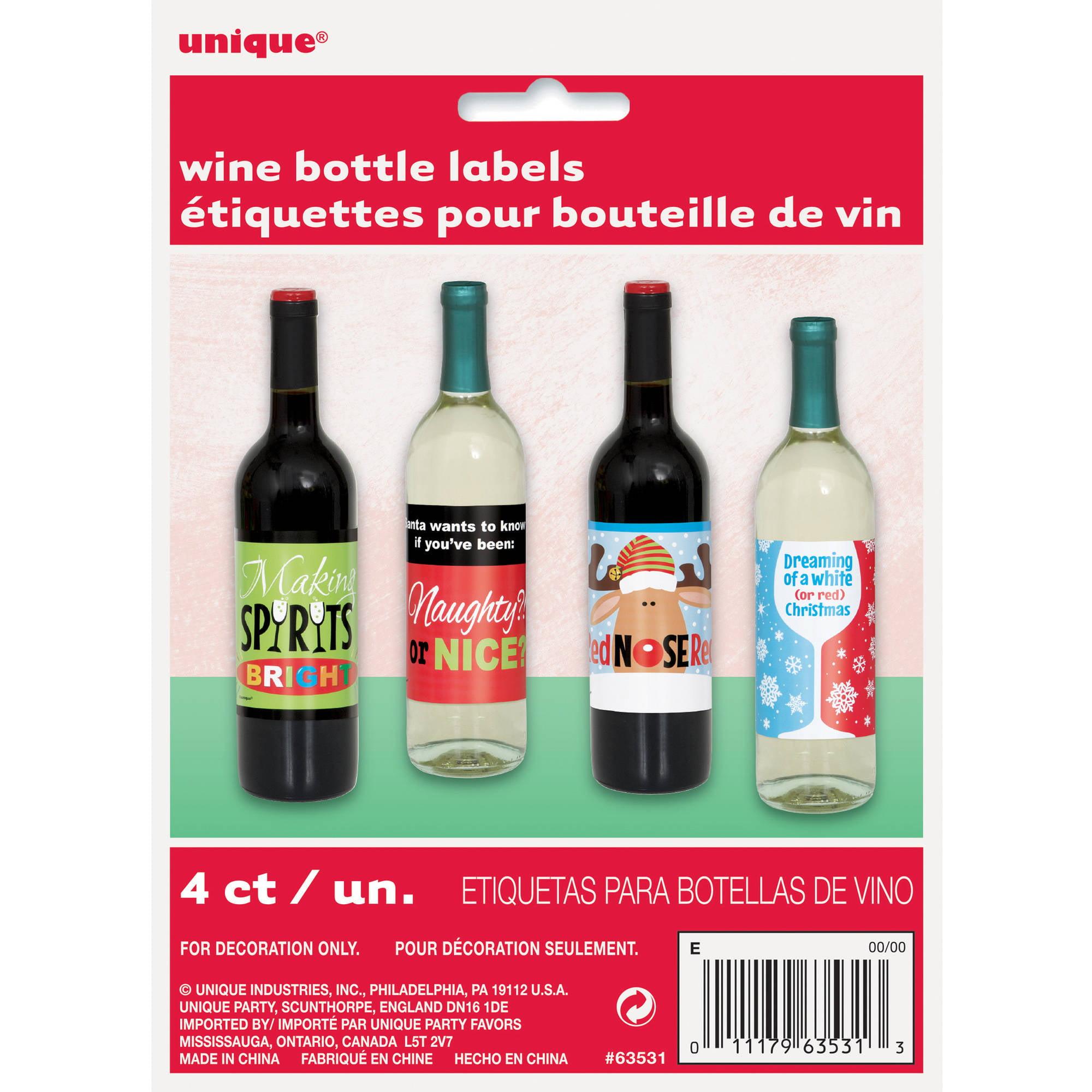 Unique Industries Christmas Spirits Wine Bottle Labels 4 Count