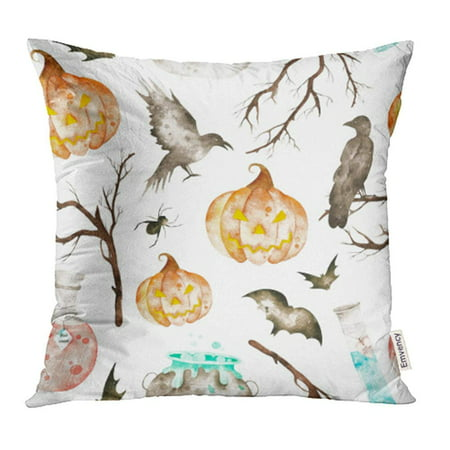 ARHOME This Halloween Magic Cauldron Potion Bottles Bats Ravens Spider Branches and Crazy Pillow Case Pillow Cover 16x16 inch Throw Pillow Covers](Making Halloween Potion Bottles)