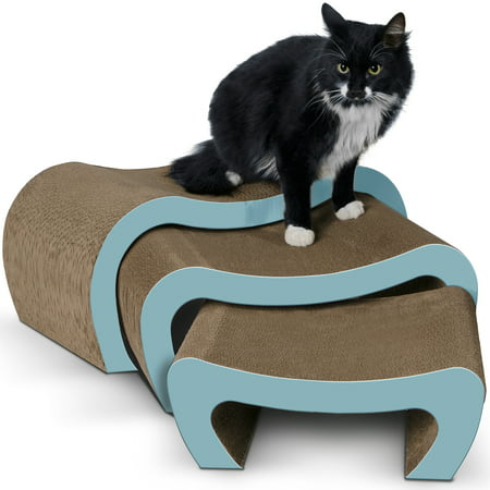 Paws & Pals Cat Scratching Post and Lounger - Modern 3-in-1 Interactive Cardboard Scratcher and Lounge Pad - Scratch Posts Furniture Stairs for Kitten with