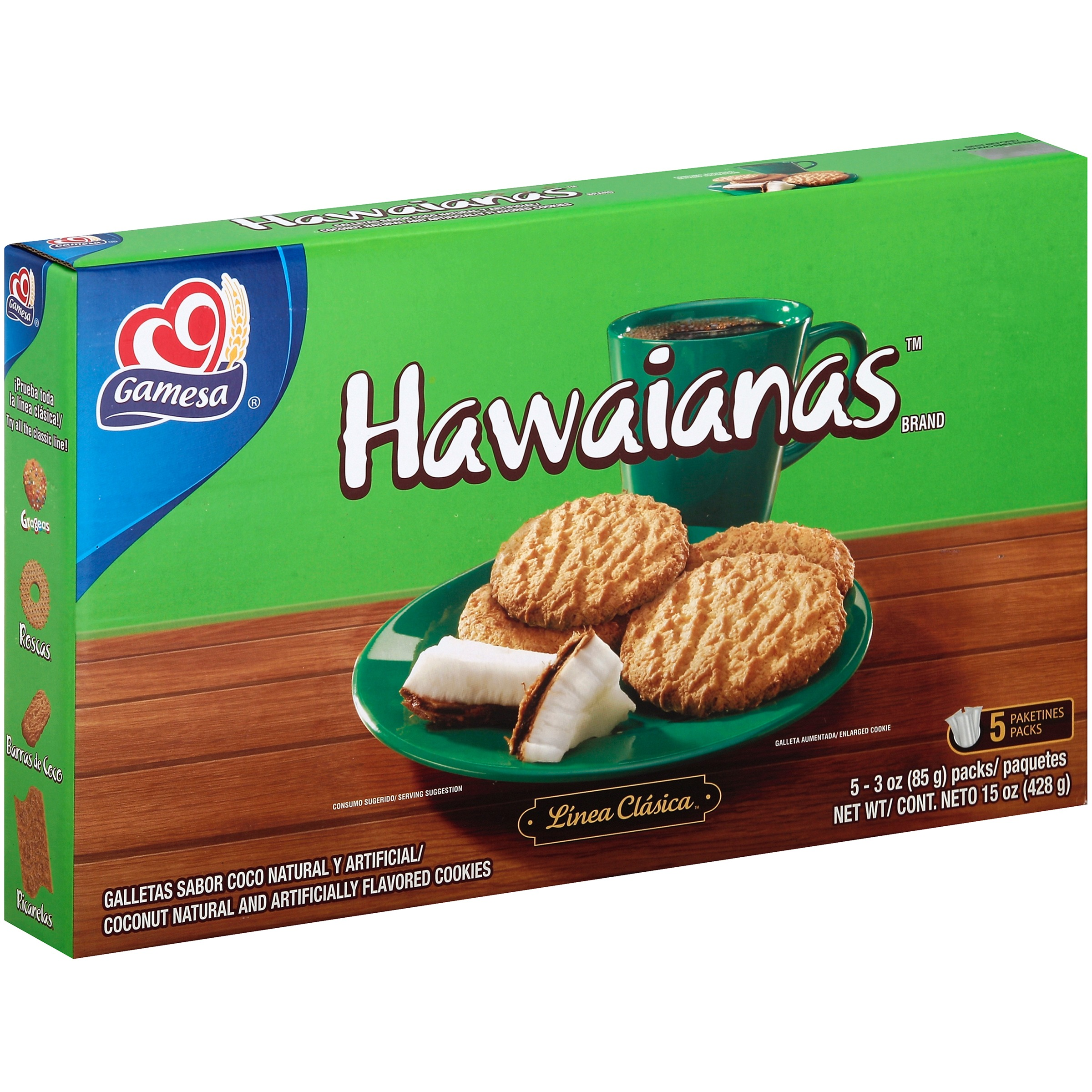 Gamesa Hawaiians Coconut Cookies, 3 Oz., 5 Count