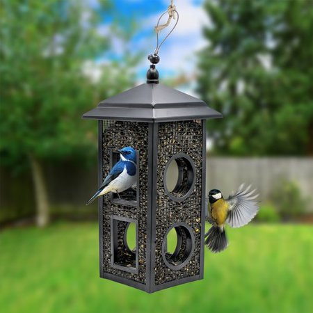Sorbus Bird Feeder – Circular Perch Hanging Feeder Bird Seed More, Premium Iron Metal Design Hanger, Great Attracting Birds Outdoors, Backyard, Garden (Bird Feeder - Lantern Style)