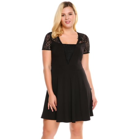 The Worth Buy Women Short Sleeve Lace Patchwork Cocktail Party Fit