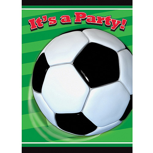 Soccer Party Invitations, 8pk