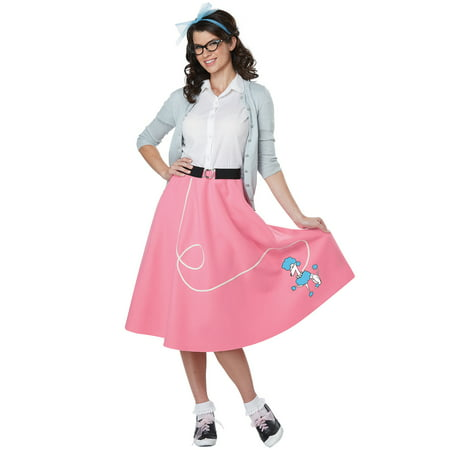 50s Pink Poodle Skirt Adult Costume (Gingerbread Costumes For Adults)