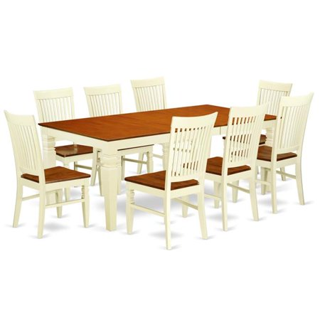 dining set with a dining table 8 wood seat kitchen chairs 9 piece buttermilk cherry. Black Bedroom Furniture Sets. Home Design Ideas