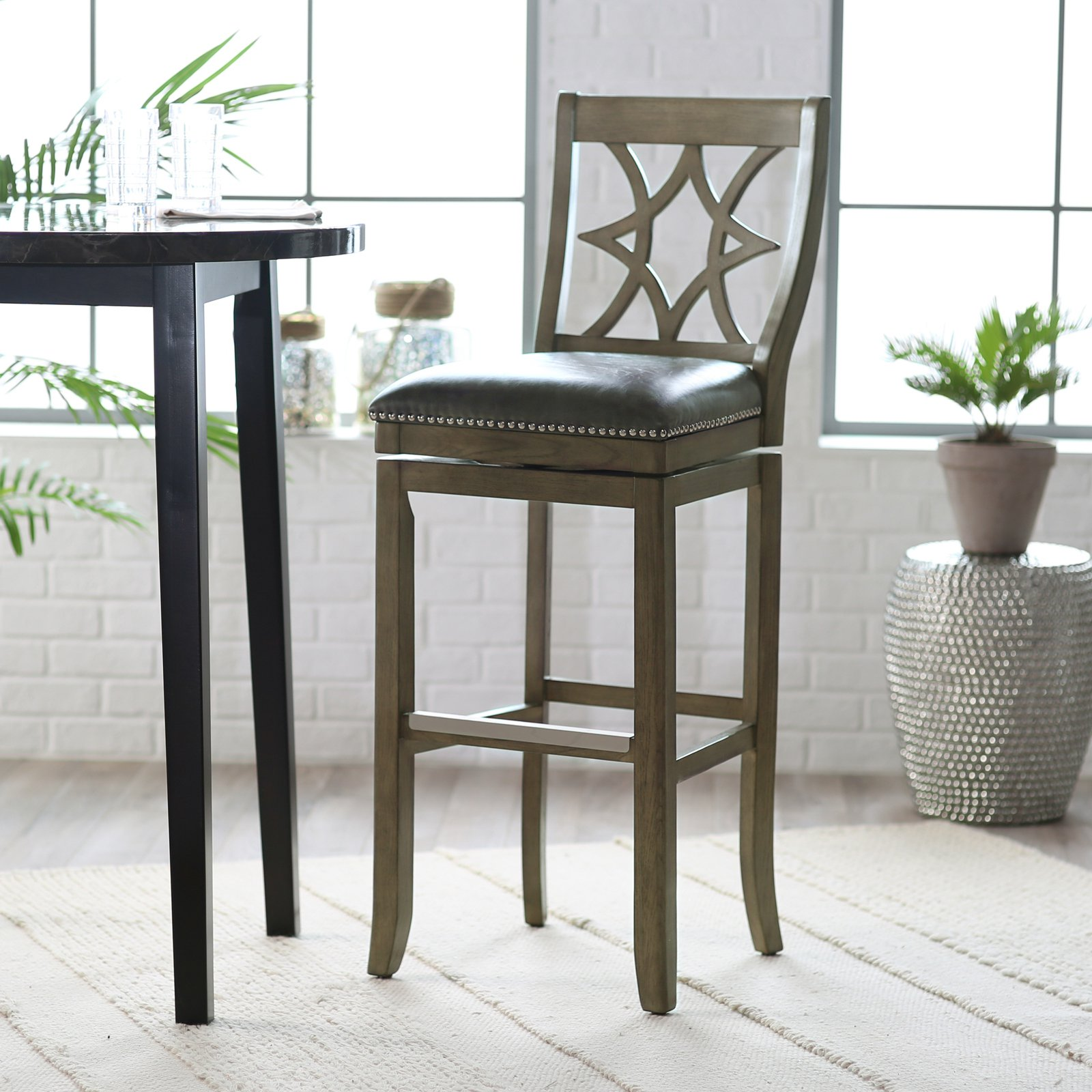 Belham living oliver square seat swivel extra tall bar stool walmart com