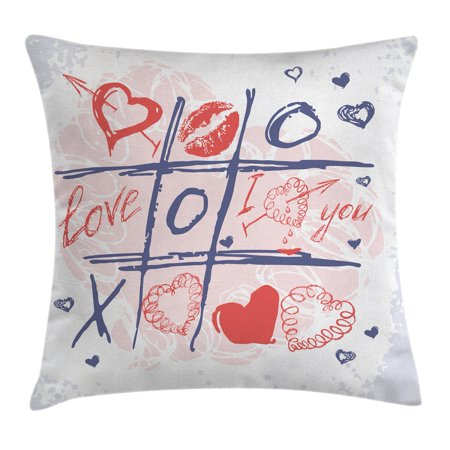 Valentines Day Decor Throw Pillow Cushion Cover, Xoxo Game with Lips Sketchy Circles Hearts Romantic Love Theme, Decorative Square Accent Pillow Case, 20 X 20 Inches, Blue Red and White, by Ambesonne